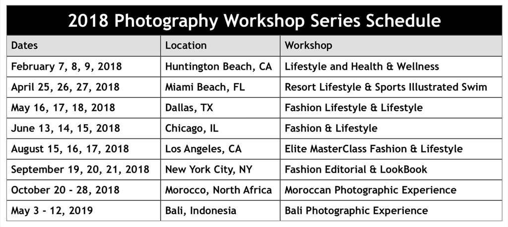 Photography Workshop Series Schedule